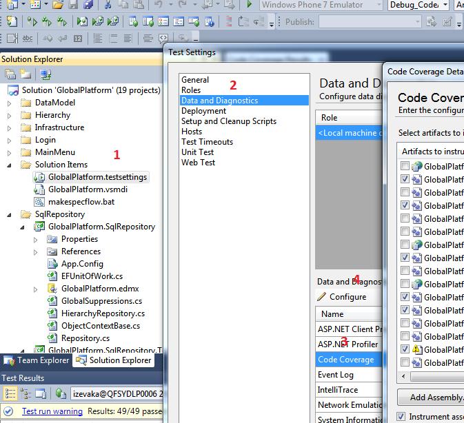Coverage, ASP NET MVC Coverage, SpecFlow in MS Team Build